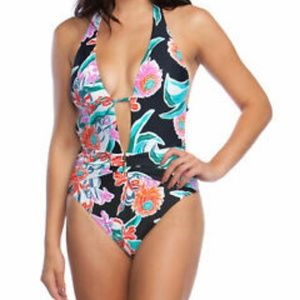 Trina Turk Floral V Plunge One Piece Swimsuit LQ22